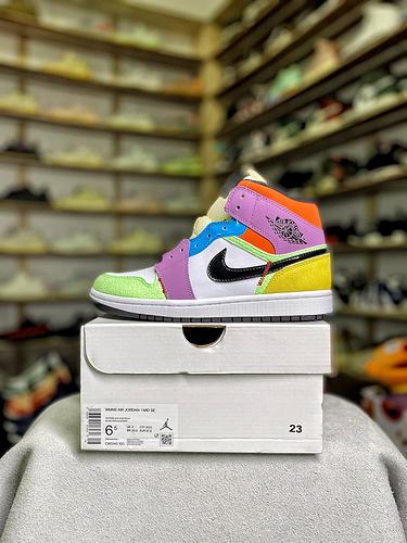 AJ1 Mid中帮 彩色拼接女鞋_AJ1特供版和正品的区别