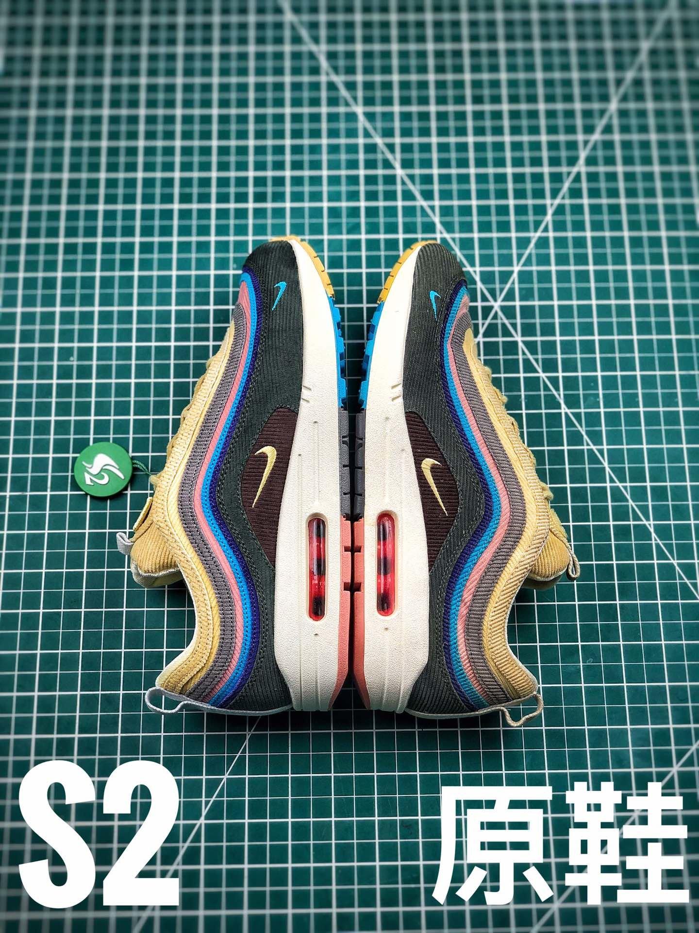 Air Max 1/97 灯芯绒 S2和原鞋对比图,PK纯原