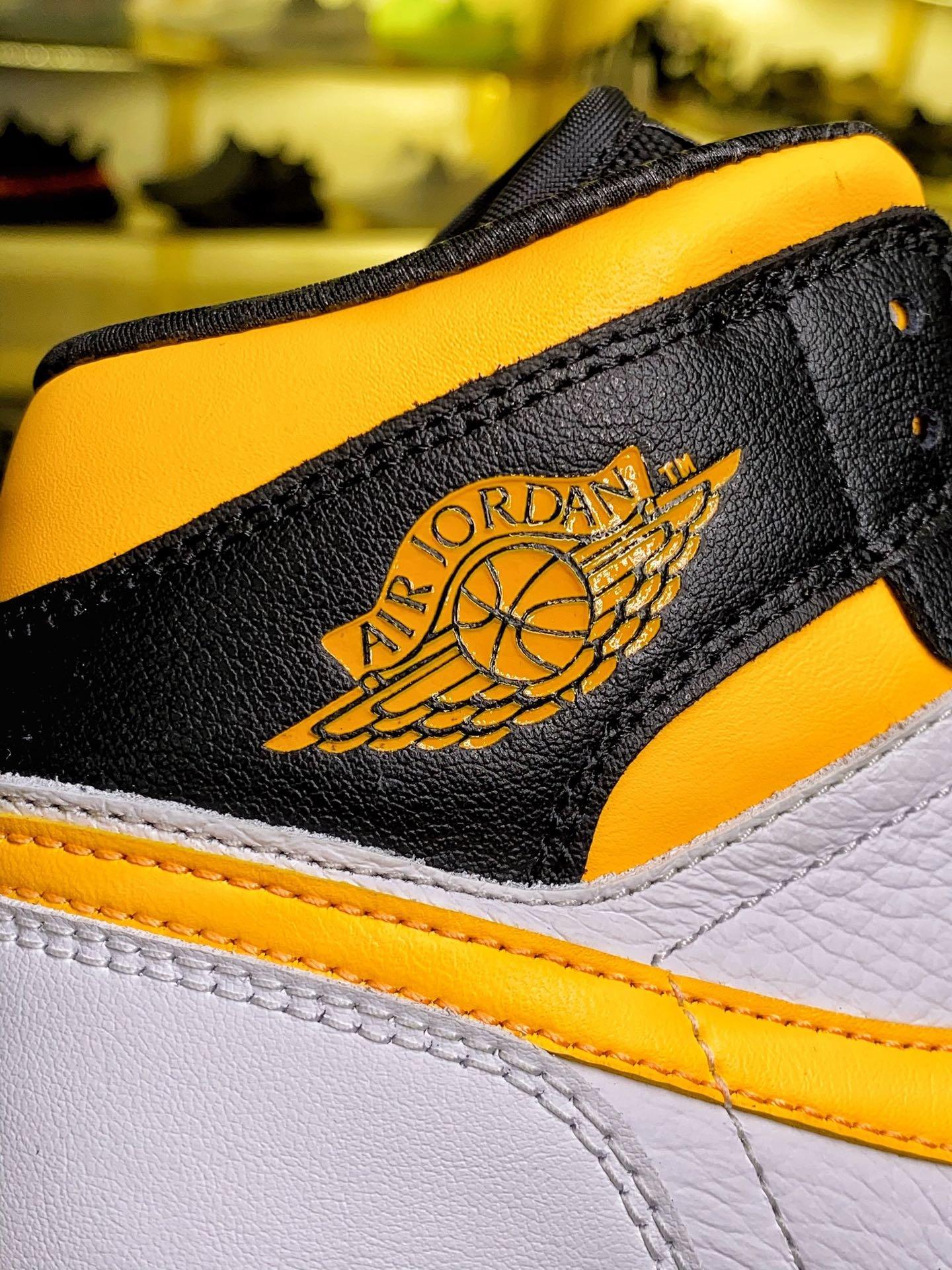 AJ1Mid中帮 黑黄女鞋 货号:CV5276-107_aj1特供版和纯原
