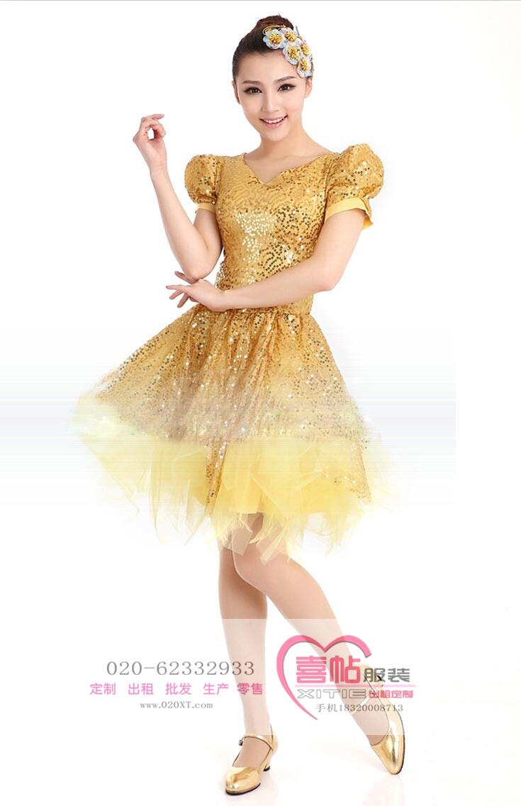 现代舞演出服 现代舞黄色舞蹈服 开场舞大摆裙出租
