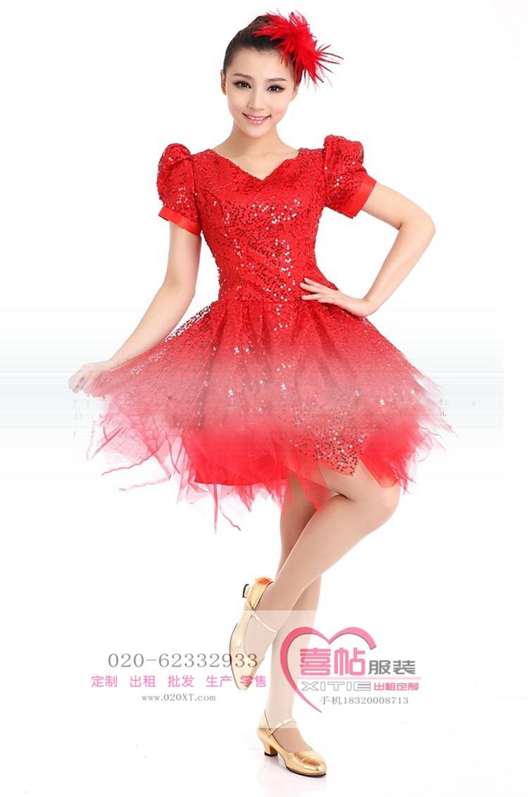 现代舞演出服 现代舞红色舞蹈服 开场舞大摆裙出租