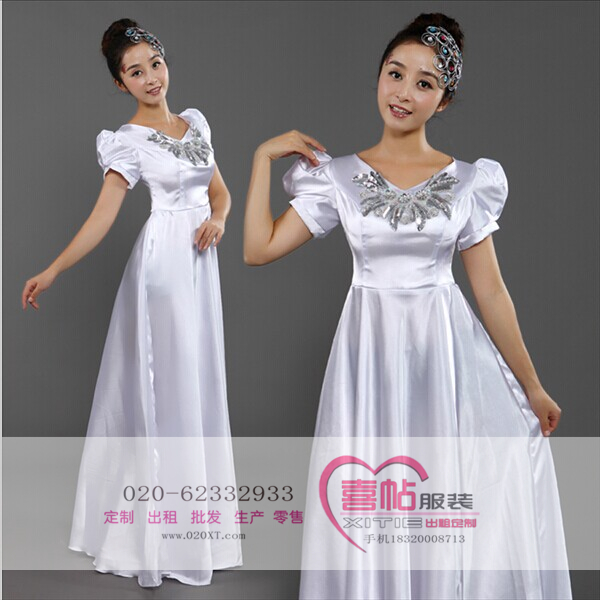 现代舞演出服 现代舞白色经典款演出服  开场舞大摆裙出租