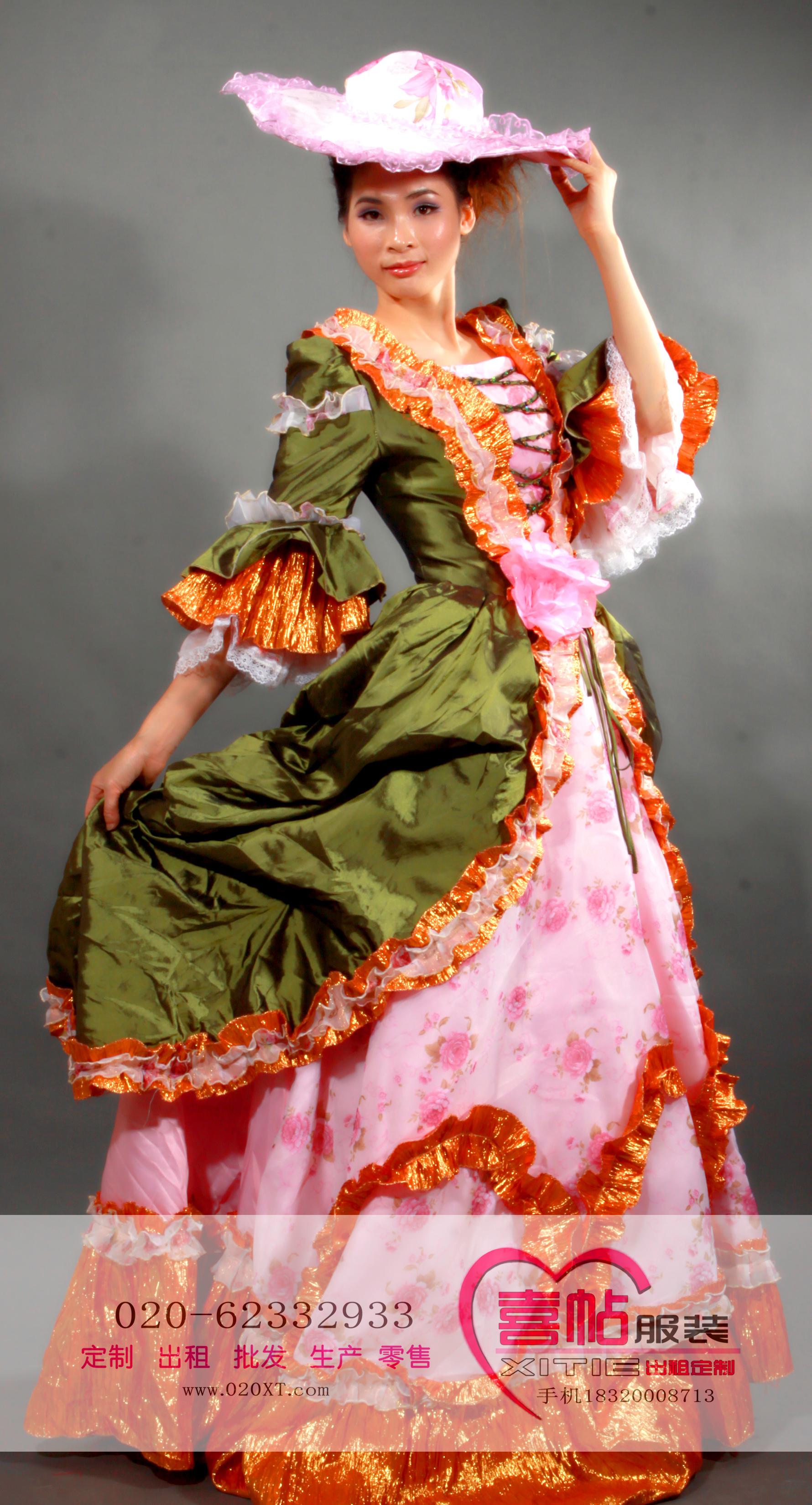 绿色欧洲皇后夫人 女欧洲宫廷服 国外服装出租 欧洲女宫廷装租赁