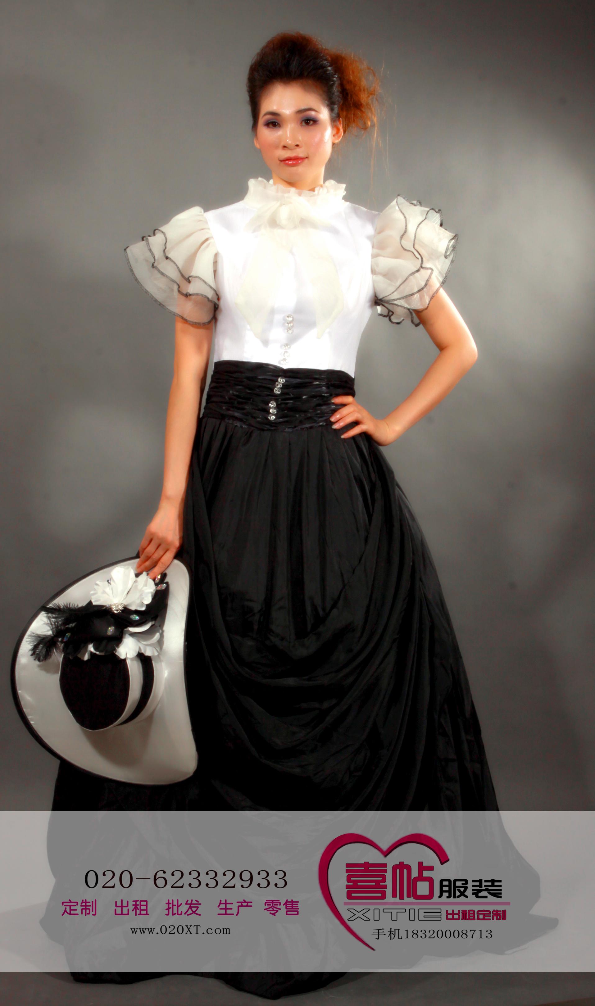 女黑白蕾丝立领欧洲宫廷服 国外服装出租 欧洲女宫廷装租赁