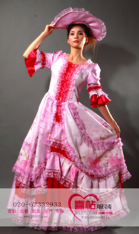 粉紫色碎花女欧洲宫廷服 国外服装出租 欧洲女宫廷装租赁