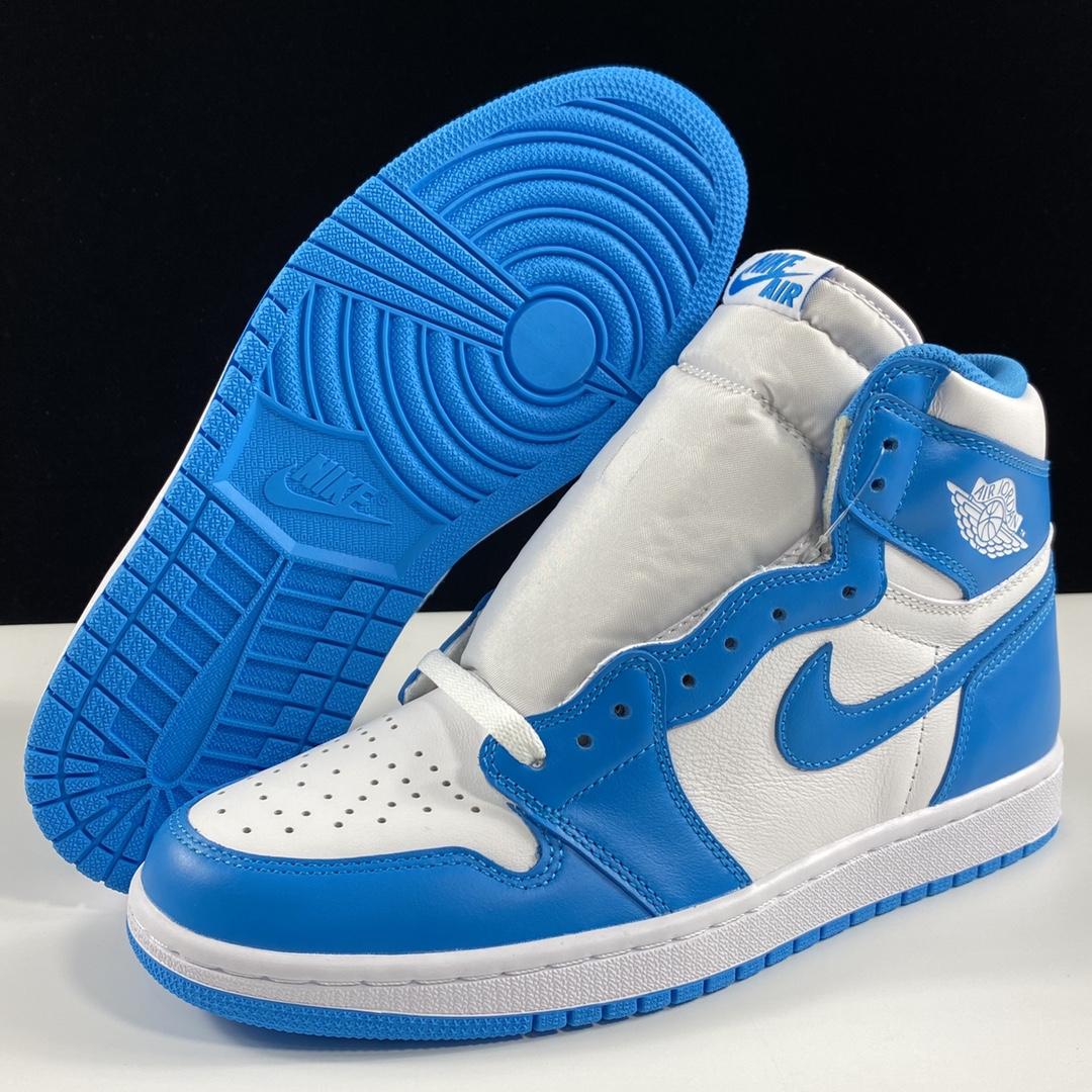 """莞顶L Air Jordan 1 Retro High OG """"UNC"""" 十月重磅""""UNC""""北卡蓝再现 AJ1代经典复古经典高帮篮球鞋 北卡蓝白配色 555088-117_ljr的版本在哪里买"""