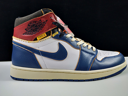 河源Union x Air Jordan 1 Retro High OW拼接视觉 蓝脚趾 BV1300-14624_莆田god版