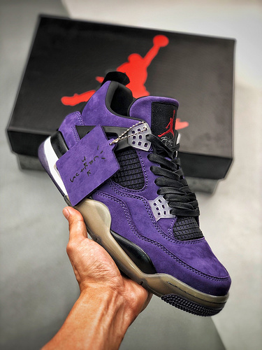 Travis Scott X  Air Jordan 4  超联名款 紫罗兰麂皮配色 AJ4-766302_莆田鞋最高版本一般什么价位
