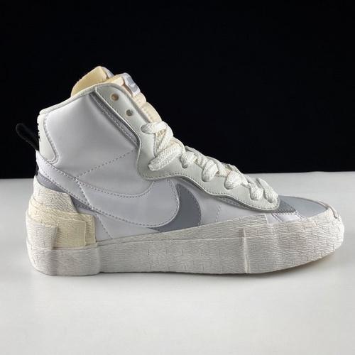 Sacai x Nike Blazer Mid 日式解构美学联名款 重叠设计前卫开拓者高帮百搭板鞋 白灰配色 BV0072-100_ljr版本什么价格