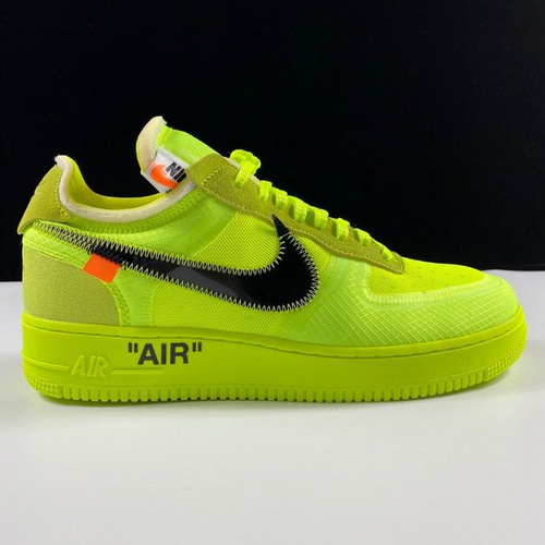 "莞顶Off-White x Nike Air Force 1 ""Fluorescent green"" 2.0透明薄如蝉鞋面系列 OW荧光绿配色 AO4606-700_怎么看是不是ljr版本"