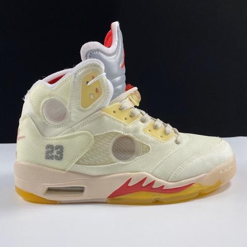 东莞版莞顶 Off-White™ x Air Jordan Retro 5 美系潮流奢牌再度联乘 乔丹AJ5代篮球鞋 优选性价比版本 OW奶白红3M配色 CT8480-002_莆田god版本鞋是什么意思