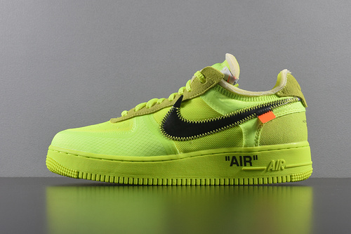 """Top版本 Off-White x Nike Air Force 1 Low """"Volt"""" AO4606-700 OW联名空军低帮 荧光绿_椰子v2 g5版"""