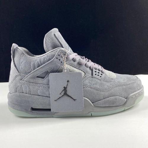 """KAWS x Air Jordan 4 """"KAWS"""" 超强联名款 夜光鞋底 奢华灰配色 930155-003_莆田ljr版本"""