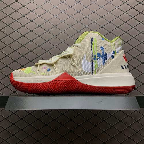 灭世纯原_欧文_Bandulu x Nike Kyrie 5 欧文5代奶油涂鸦 限定联名款篮球鞋 CK5837-100_莆田ljr版本对比