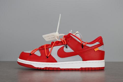 LJR版本   OFF-WHITE x Nike SB Dunk Low OW联名 灰红板鞋CT0856-600_pk版本和ljr