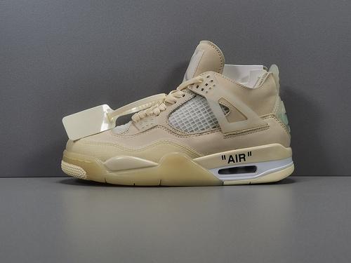 "GOD版_乔4 乔4OW Off-White? x Air Jordan 4  ""Cream/Sail"" OW联名,货号_CV9388-100_莆田god版本鞋做的怎么样"