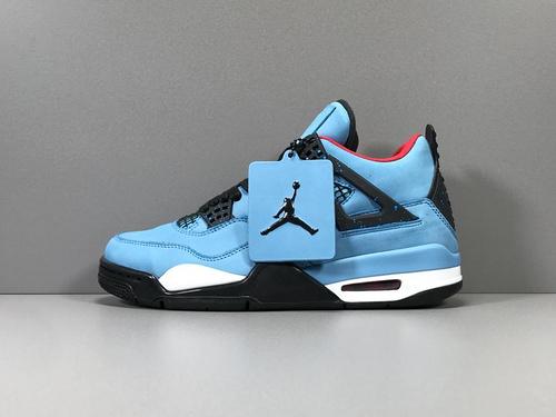 GOD版_AJ4 蓝色 Air Jordan 4 Retro Travis Scott Cactus Jack ,乔四联名,货号_308497-406_莆田god版本鞋是什么意思
