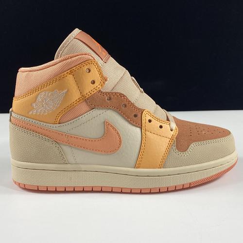 """莞顶L Wmns Air Jordan 1 Mid Apricot OrangeAJ1乔丹一代中帮经典复古文化休闲运动篮球鞋""""杏橙白粉""""DH4270-800_ljr版本好吗"""