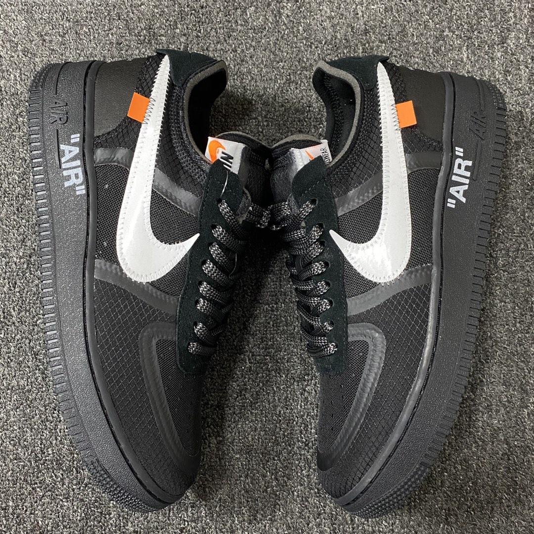 """莞顶L Off-White x Nike Air Force 1 """"Black""""韩国进口原装网纱鞋面不褶皱 正确高频及Swoosh材质 品质提升版 OW黑白配色 AO4606-001_ljr版本什么意"""