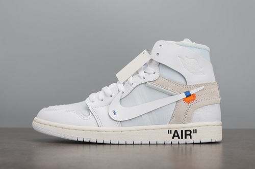 LJR  Air Jordan 1 x OFF-WHITE AJ1 OW联名 纯白 AQ0818-100_aj1黑红脚趾ljr版本
