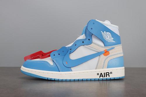 LJR版 Air Jordan 1 x OFF-WHITE AJ1 OW联名 北卡蓝 AQ0818-148 _ljr和老汪版本的限定椰子鞋哪个好
