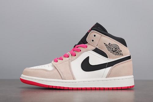 Nike Air Jordan 1 Mid AJ1 脏粉麂皮脚趾中帮篮球鞋852542-801