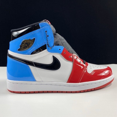 "Air Jordan 1 High OG"" Fearless"" 裕LJR版本红蓝漆皮鸳鸯拼接配色 CK5666-100_莆田god版本鞋做的怎么样"