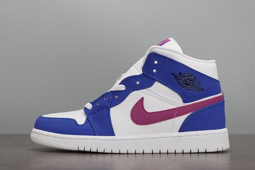 AIR Jordan 1 mid AJ1 中帮蓝白紫拼接篮球鞋554724-451