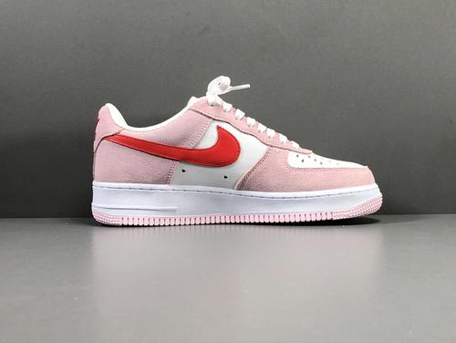 """【GOD版】粉红 情人节 Nike Air Force 1 '07  QS""""Valentine·s Day""""货号:DD03384-600_莆田god版本鞋做的怎么样"""