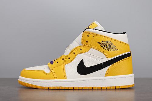 Air Jordan 1 Mid AJ1 白橙紫金湖人 篮球鞋 852542-700