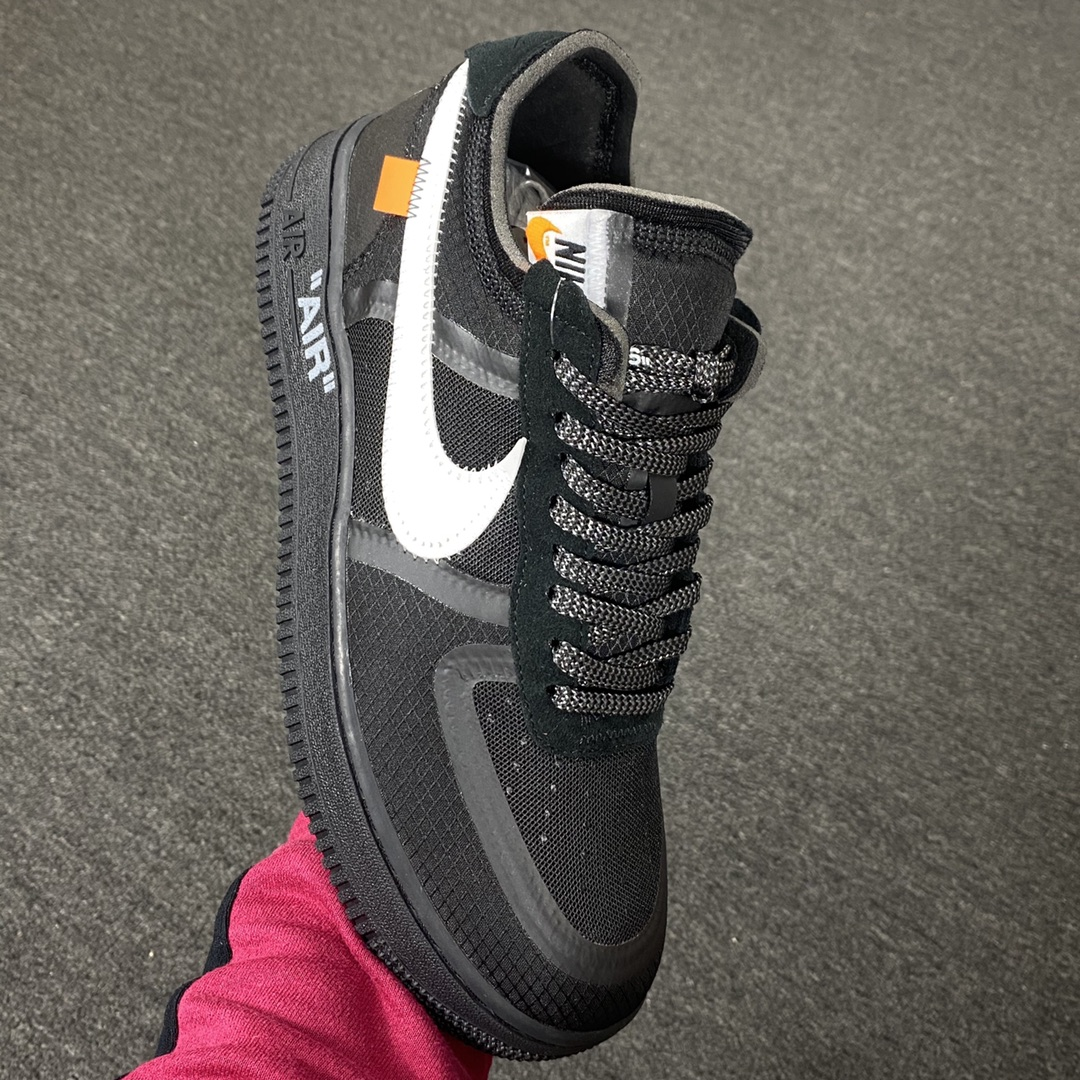 """莞顶L Off-White x Nike Air Force 1 """"Black""""韩国进口原装网纱鞋面不褶皱 正确高频及Swoosh材质 品质提升版 OW黑白配色 AO4606-001_莆田鞋god版是什么意思"""