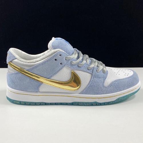 Dunk冰雪奇缘 Sean Cliver x Nike SB Dunk Low ProPsychic Blue-Metallic Gold雾霾蓝白金钩水晶底 DC9936-100_ljr版本什么意思