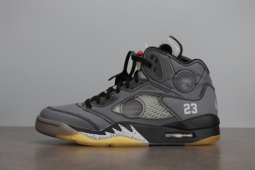 LJR版本  Air Jordan 5 AJ5 ow联名 off white 蝉翼灰 CT8480-001_莆田god版鞋子