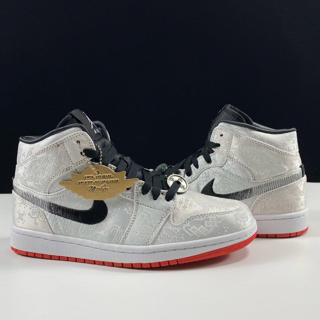 "CLOT x Air Jordan 1 Mid ""Fearless""LJR陈冠希限定款 丝绸白黑红配色 CU2804-100_倒钩ljr版本"