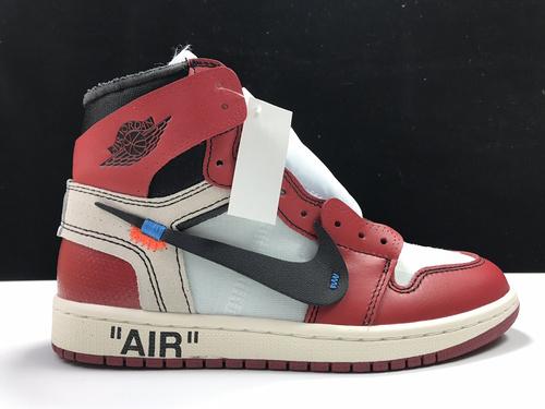 【L版:AJ1 OW联名】 AJ白红   Air Jordan 1  Off White AJ1  货号:AA3834-101_莆田鞋god版是什么意思