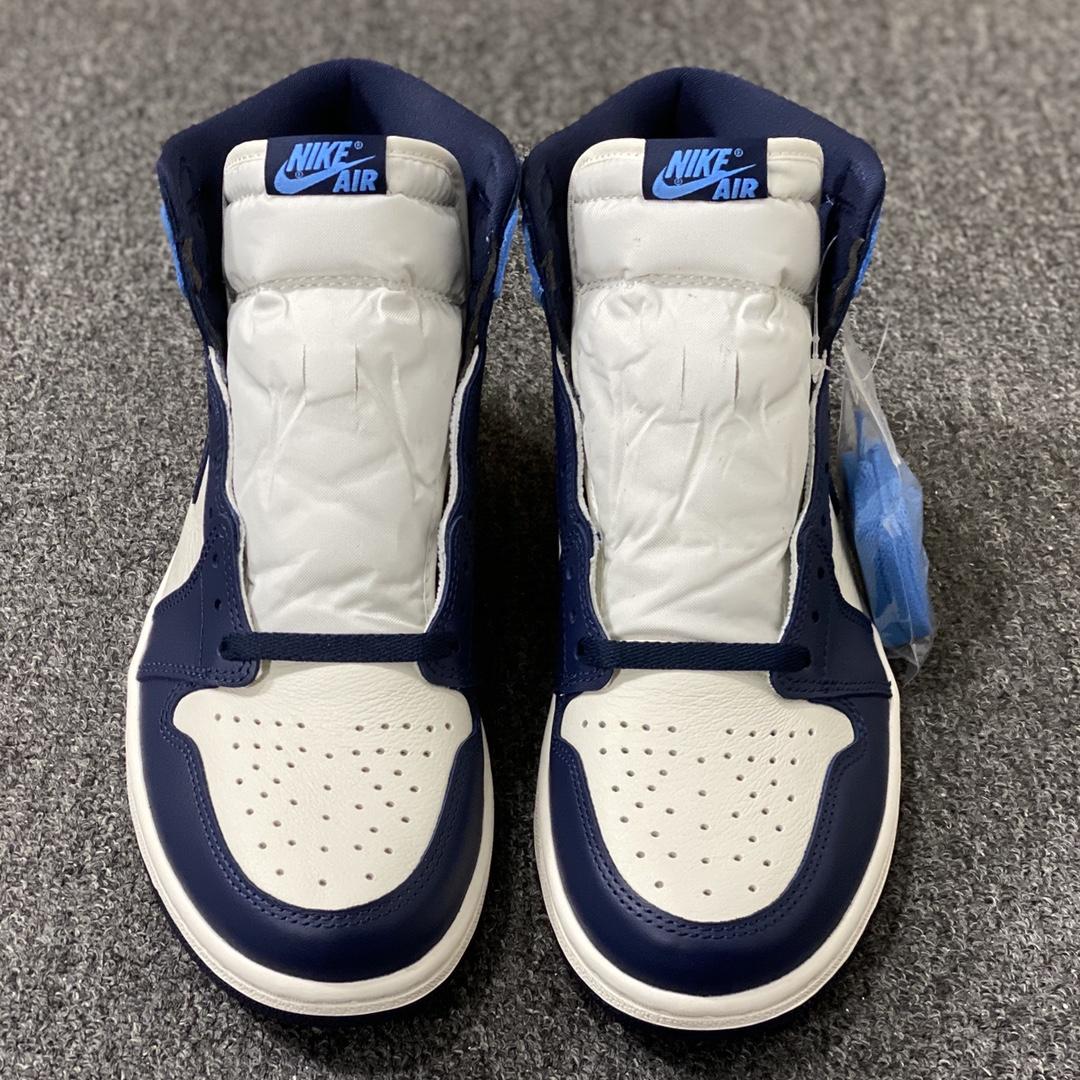 莞顶L Air Jordan Retro 1 High OG 'Obsidian' 黑曜石校园蓝北卡蓝配色 555088-140_莆田god版本和h12版本哪个好