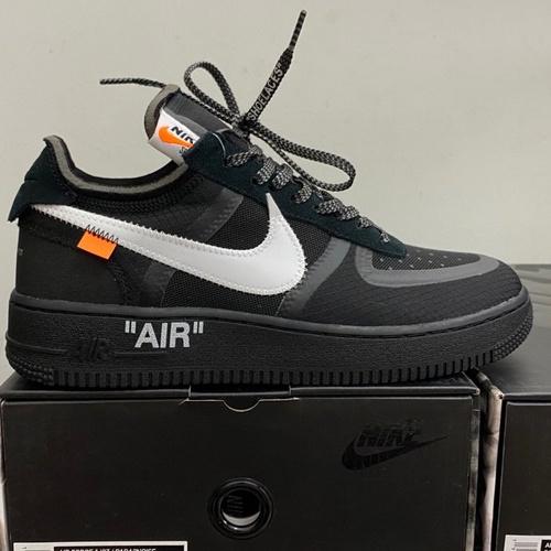 """裸鞋圈Off-White x Nike Air Force 1 """"Black""""韩国进口原装网纱鞋面不褶皱 正确高频及Swoosh材质 OW黑白配色 AO4606-001_莆田god版鞋子"""