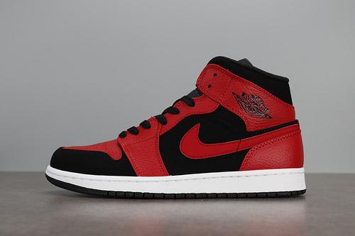 AIR JORDAN 1 MID AJ1中帮黑红   554724-054_aj4是高帮还是低帮鞋