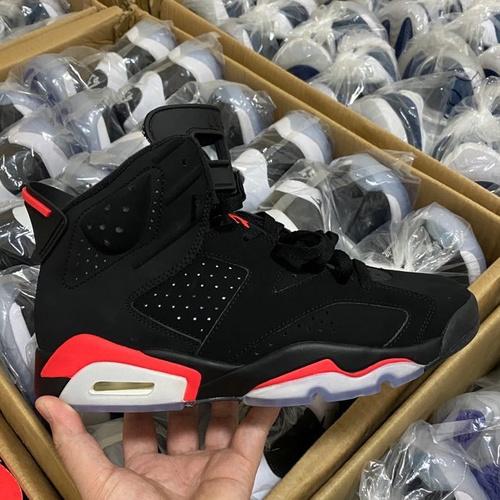 """裸鞋6黑红 Air Jordan 6 """"Black Infrared"""" 3M反光 2019最新来袭 年版本NIKE标志 黑红配色 384664-060_莆田get和ljr版本"""