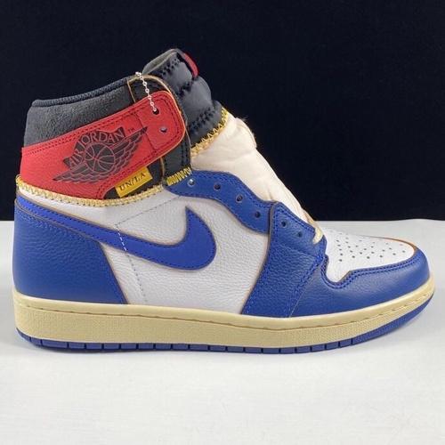 ljr版本 aj1un拼接白蓝红 Union x Air Jordan 1 Retro High OW拼接视觉 蓝脚趾 BV1300-146_莆田god版本鞋是什么意思