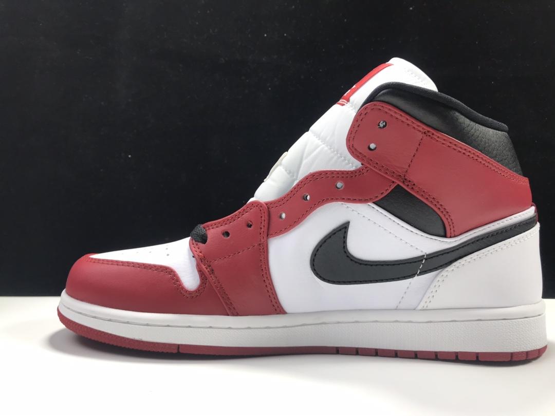 【特供版:AJ1 mid】 白红 Air Jordan 1 mid OG,货号:554724-173_ljr版本对比