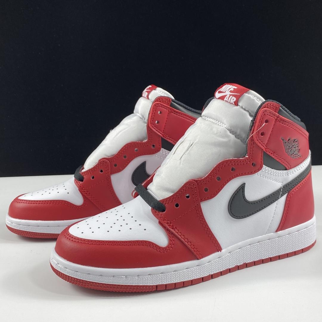"aj1芝加哥女鞋 Air Jordan 1 Retro OG High GS ""Chicago"" LJR东莞 芝加哥配色 575441-101_莆田倒钩ljr版本低帮"