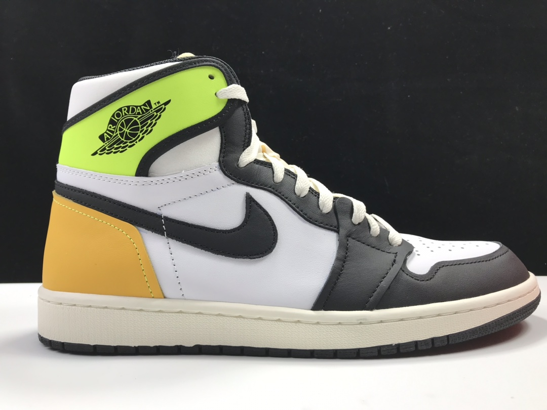 """莞L乔丹1代 Air Jordan 1 High OG """"Volt Gold""""货号:555088-118     乔1高帮黑白黄荧光绿_ljr版本白扣碎"""