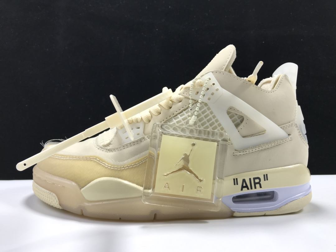 """【纯原Y3版:AJ4】白帆Off-White x Air Jordan 4 """"Sail""""货号:CV9388-100_dt版本和ljr"""