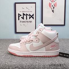经典白浅粉Nike Dunk Low Elite Sb女鞋淡雅樱花粉高帮复古休闲板鞋 36-40