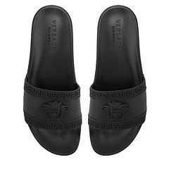 """(货齐)男女鞋出货!2016范思哲Versace Medusa Slide Sandals PVC美杜莎头像一字拖鞋 """"Medusa"""" 全黑"""