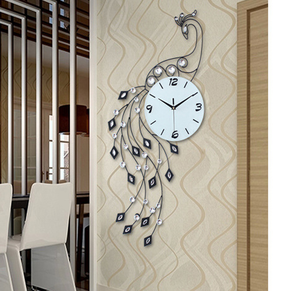 luxury peacock iron art living room wall clock modern home