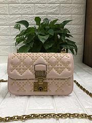 迪奥女包Dior三格铆钉戴妃包单肩斜挎手提包方包钱包
