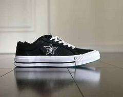 CONVERSE匡威官方OneStar低帮休闲鞋头层牛皮休闲鞋大规格刺绣黑白色五芒星皮面穿出不一样的脚感更舒适货号166487CSize3544含3653753959