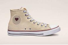 ConverseChuckTaylorAllStarSuckerLoveDenimHighTop情人节限定红色爱心真标蓝底颜色米白色货号163304C尺码35